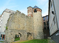 The ruins of the tower brussels belgium june tour anneessens tour d angle is remnant a corner first town wall nowadays sandwiched Royalty Free Stock Photos