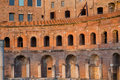 Ruins of trajan s market mercati di traiano in rome part the during sunset Royalty Free Stock Photography