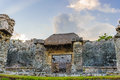 Ruins of tulum great palace maya city called situated on the yucatan mexico Royalty Free Stock Photography