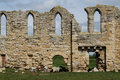 Ruins of tupolme abbey near woodhall spa lincolnshire in a field Stock Photo