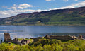 Ruins of Urquhart Castle overlooking Loch Ness Stock Image