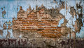 The ruins wall blue old cracked of abandoned Stock Photo
