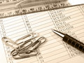 Ruler, pen, paper-clipses (in sepia) Royalty Free Stock Images