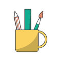 Ruler pencil and paint brush inside mug design