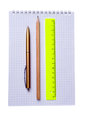 Ruler, pencil and pen isolated on white background Royalty Free Stock Photo