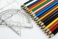 Rulers and color pencil Stock Photos