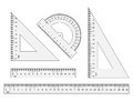 Rulers, triangles, protractor. Vector instruments  on wh Royalty Free Stock Photo