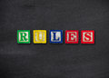 Rules concept on black board Royalty Free Stock Photography