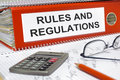 Rules and regulations written on folder Royalty Free Stock Image