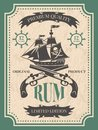 Rum. Vintage label at pirate theme Royalty Free Stock Photo