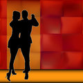 Rumba background illustration with a couple of dancers carrying out a latin american ballroom dance Royalty Free Stock Image