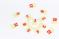 Rummy pieces photo of on white background Royalty Free Stock Photography