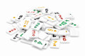 Rummy pieces pile of on white Stock Image