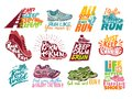 Run lettering on running shoes vector sneakers or trainers with text signs for typography illustration set of runners
