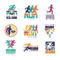 Run sport club logo templates set, emblems for sport organizations, tournaments and marathons colorful vector