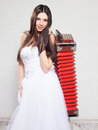 Runaway bride with russian accordion sneakers wedding Royalty Free Stock Photography