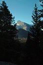 Rundle mountain banff alberta canada early morning view of the town of and from mount norquay Stock Photos