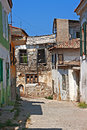 Rundown houses in turkish village very pld Stock Photo