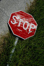 Rundown stop sign Stock Image