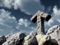 Rune rock under cloudy blue sky Royalty Free Stock Photo