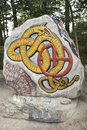 An rune stone in denmark viking villdge Royalty Free Stock Photography