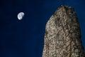 Rune stone and moon Royalty Free Stock Photo