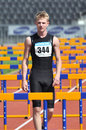 Runner between barriers photo was taken during the junior team of ukrainian championship in athletics countries ukraine turkey Stock Images