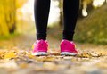 Runner close up of feet of a running in autumn leaves training exercise Stock Photography