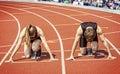 Runner couple  start curve stadium Royalty Free Stock Photo