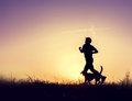 Runner with dog silhouettes at the sunset Royalty Free Stock Photo