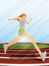 Runner girl on track illustration of a running a in an upward perspective Royalty Free Stock Photography