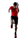 Runner jogger running jogging silhouette one young man in isolated on white background Royalty Free Stock Images