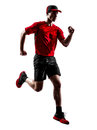 Runner jogger running jogging silhouette one young man in isolated on white background Stock Photo