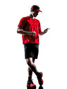 Runner jogger smartphones headphones silhouette one young man using in isolated on white background Royalty Free Stock Photography