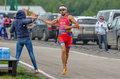 Runner photo shows spanish of race in moscow which convey water moscow Stock Photos