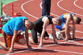 Runner are ready photo was taken during the junior team of ukrainian championship in athletics between countries ukraine turkey Royalty Free Stock Photo