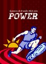 Runner running power poster greeting card illustration showing a marathon on track with sunburst viewed from an extremely low Royalty Free Stock Photos