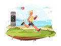 Runner scamper runs at coast Royalty Free Stock Photo