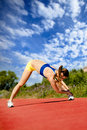 Runner stretching Stock Photos