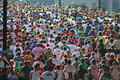 Runners crowds of in the great north run newcastle upon tyne england Stock Photos