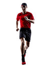 Runners joggers running jogging jumping silhouettes Royalty Free Stock Photo