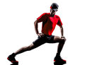 Runners joggers stretching warming up silhouettes Royalty Free Stock Photo
