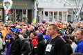 Runners and walkers,waiting at the starting line for the Annual Christopher Dailey Turkey Trot, Saratoga Springs,New York,2014 Royalty Free Stock Photo