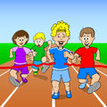 Runners and winner vector illustration of a foot race with finish line Stock Photos