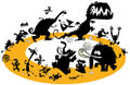 Running animal silhouettes in cycle. Royalty Free Stock Photo