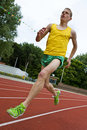 Running athlete in mid-air Royalty Free Stock Photo