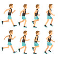 Running athletic man in tracksuit animation frame, sprite sequence vector illustration