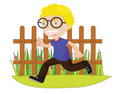 Running boy in front of fence Royalty Free Stock Photos
