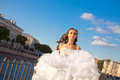Running bride outdoor sun set time Stock Image