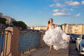 Running bride outdoor sun set time Royalty Free Stock Photos